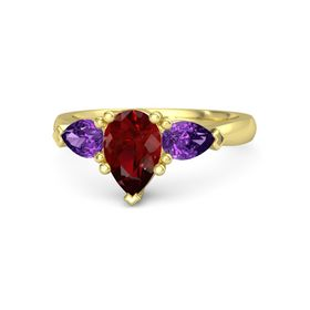 Pear Ruby 14K Yellow Gold Ring with Amethyst