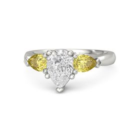 Pear White Sapphire Palladium Ring with Yellow Sapphire