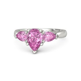 Pear Pink Sapphire Platinum Ring with Pink Sapphire