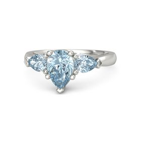 Pear Aquamarine Platinum Ring with Aquamarine