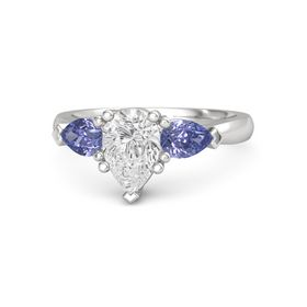 Pear White Sapphire Sterling Silver Ring with Tanzanite