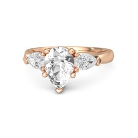 Pear Rock Crystal 14K Rose Gold Ring with White Sapphire