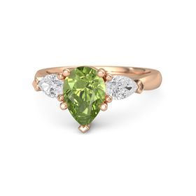Pear Peridot 14K Rose Gold Ring with White Sapphire