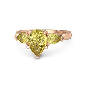 Pear Yellow Sapphire 14K Rose Gold Ring with Yellow Sapphire