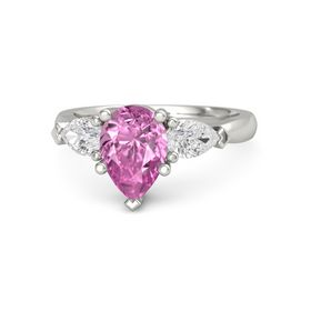 Pear Pink Sapphire 14K White Gold Ring with White Sapphire