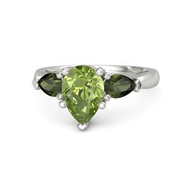 Pear Peridot 14K White Gold Ring with Green Tourmaline