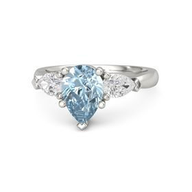 Pear Aquamarine 14K White Gold Ring with White Sapphire