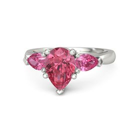Pear Pink Tourmaline 14K White Gold Ring with Pink Tourmaline