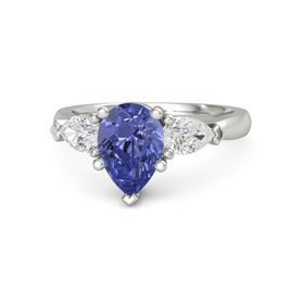 Pear Tanzanite 14K White Gold Ring with White Sapphire