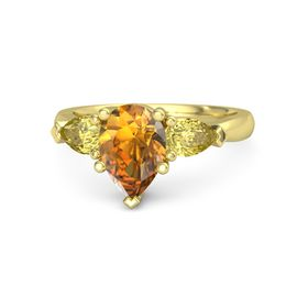 Pear Citrine 14K Yellow Gold Ring with Yellow Sapphire