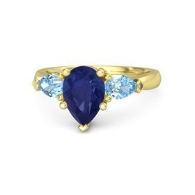 Pear Sapphire 14K Yellow Gold Ring with Blue Topaz