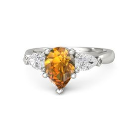 Pear Citrine Palladium Ring with White Sapphire