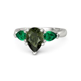 Pear Green Tourmaline Palladium Ring with Emerald