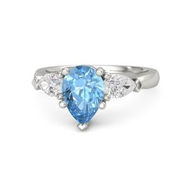 Pear Blue Topaz Palladium Ring with White Sapphire