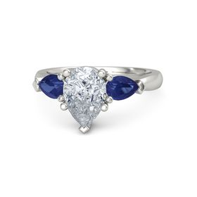 Pear Diamond Platinum Ring with Blue Sapphire