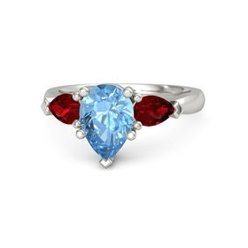 Pear Blue Topaz Platinum Ring with Ruby