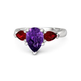 Pear Amethyst Sterling Silver Ring with Ruby