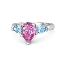 Pear Pink Sapphire Sterling Silver Ring with Blue Topaz