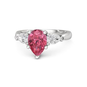 Pear Pink Tourmaline Sterling Silver Ring with White Sapphire