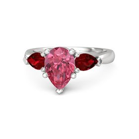 Pear Pink Tourmaline Sterling Silver Ring with Ruby