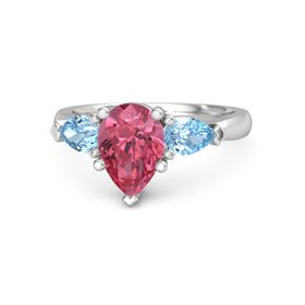 Pear Pink Tourmaline Sterling Silver Ring with Blue Topaz