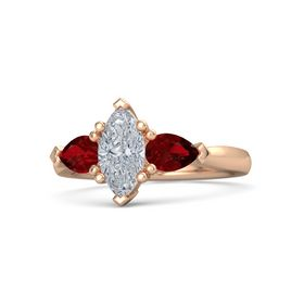 Marquise Diamond 14K Rose Gold Ring with Ruby
