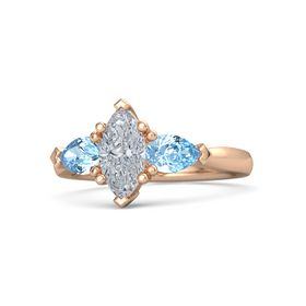 Marquise Diamond 14K Rose Gold Ring with Blue Topaz