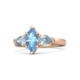 Marquise Blue Topaz 14K Rose Gold Ring with Aquamarine