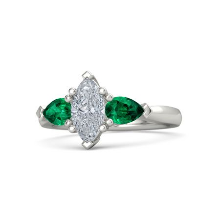 Marquise Diamond 14K White Gold Ring with Emerald