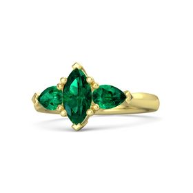Marquise Emerald 14K Yellow Gold Ring with Emerald