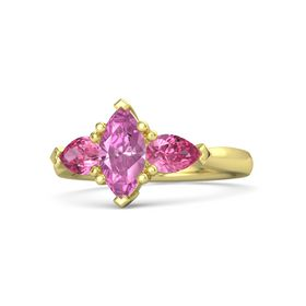 Marquise Pink Sapphire 14K Yellow Gold Ring with Pink Tourmaline
