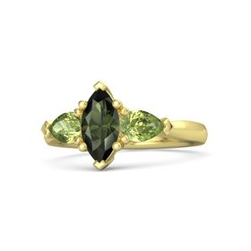 Marquise Green Tourmaline 14K Yellow Gold Ring with Peridot