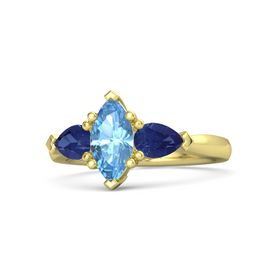 Marquise Blue Topaz 14K Yellow Gold Ring with Sapphire