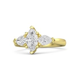 Marquise White Sapphire 18K Yellow Gold Ring with White Sapphire