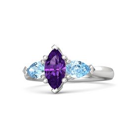 Marquise Amethyst Sterling Silver Ring with Blue Topaz