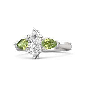 Marquise White Sapphire Sterling Silver Ring with Peridot