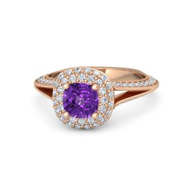Cushion Amethyst 14K Rose Gold Ring with Diamond