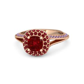 Cushion Ruby 14K Rose Gold Ring with Ruby and Amethyst