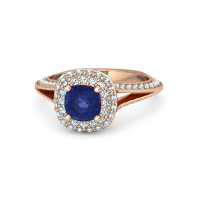 Cushion Sapphire 14K Rose Gold Ring with Aquamarine