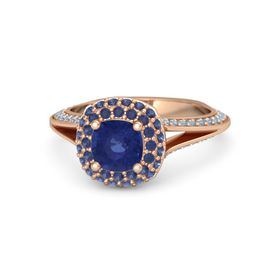 Cushion Blue Sapphire 14K Rose Gold Ring with Blue Sapphire and Blue Topaz