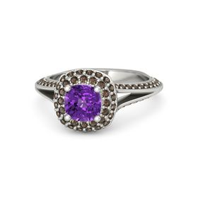 Cushion Amethyst 14K White Gold Ring with Smoky Quartz
