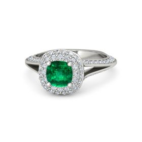 Cushion Emerald 14K White Gold Ring with Diamond