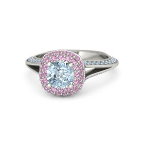 Cushion Aquamarine 14K White Gold Ring with Pink Tourmaline and Blue Topaz