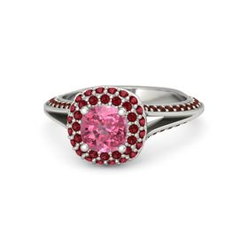 Cushion Pink Tourmaline 14K White Gold Ring with Ruby & Red Garnet