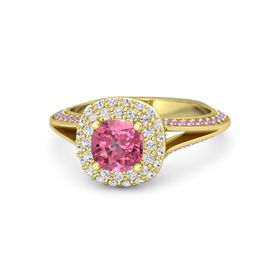 Cushion Pink Tourmaline 14K Yellow Gold Ring with White Sapphire and Pink Tourmaline
