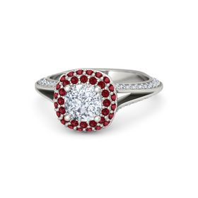 Cushion Diamond Platinum Ring with Ruby and Diamond