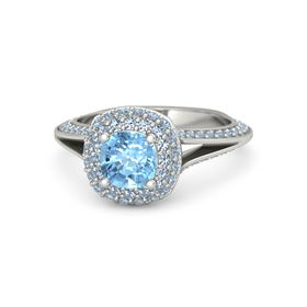 Cushion Blue Topaz Platinum Ring with Blue Topaz