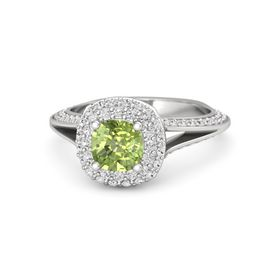 Cushion Peridot Sterling Silver Ring with White Sapphire