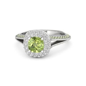 Cushion Peridot Sterling Silver Ring with White Sapphire and Peridot