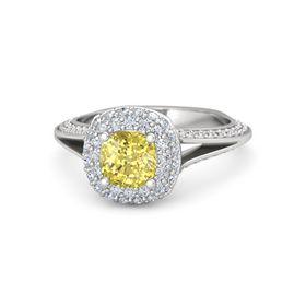 Cushion Yellow Sapphire Sterling Silver Ring with Diamond & White Sapphire